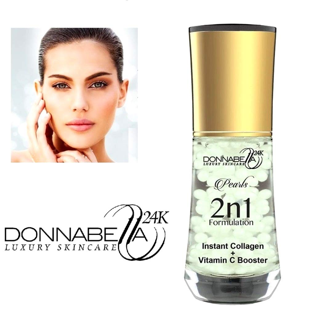 Donna Bella 24K Pro Gold edition Luxury Skincare Pearls 2 n 1 Formulation 40ML-1.35FL.OZ Instant Collagen + Vitamin C Booster natural formula specially synthesized with organic extract elements