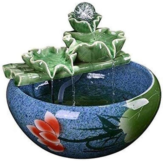 LJJOO Pulverizar Tanque de Peces pequeños - Fuentes de Interior de cerámica de Agua de Mesa de Hoja de Loto Fuente decoración Sala Accesorios for el hogar (41 * 29cm) (Size : 41 * 29cm)