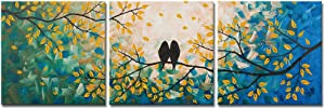 DekHome 3 Piece Birds Canvas Wall Art Loving Birds on Tree Branch Painting Picture Green and Yellow Artwork Stretched and Framed Ready to Hang 16x16inchx3pcs