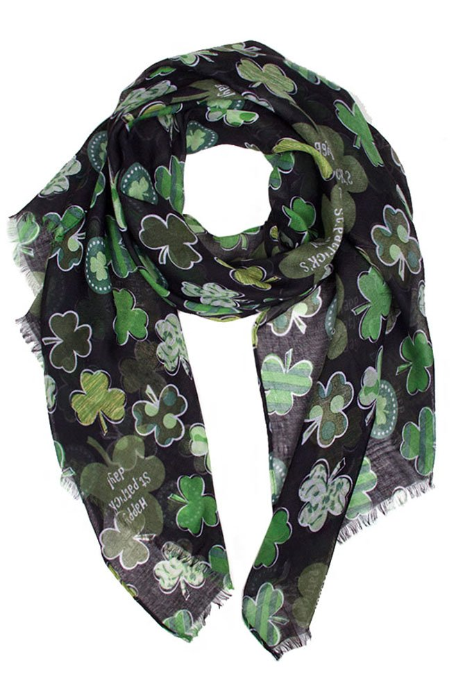 ScarvesMe St Patrick Day Green Shamrock 4 Leaf Clover Party Holiday Oblong Scarf (LOF465_BK)