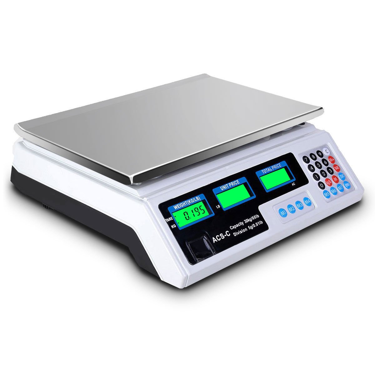 66LBS Max Weight LCD Display Digital Weight Scale Retail Outlets Food Market Supermarket Grocery Stores Post Office Logistics Price Computing Scale Waterproof Weighing Platform Stainless Steel Top by Almacén