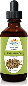 Organic Virgin Hemp Seed Oil 4oz - 100% Pure Natural Omega 3, 6, 9 Food Grade - for Skin, Hair Growth, Sleep, Anti-Inflammatory, Acne, Better Sleep, Joint Support, Pain by Tropical Holistic