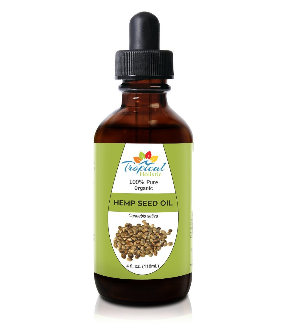 100% Pure Organic Hemp Seed Oil 4oz by Tropical Holistic - Cold Pressed and Unrefined - Best for Hair, Skin, Diluting Essential Oils and Aromatherapy
