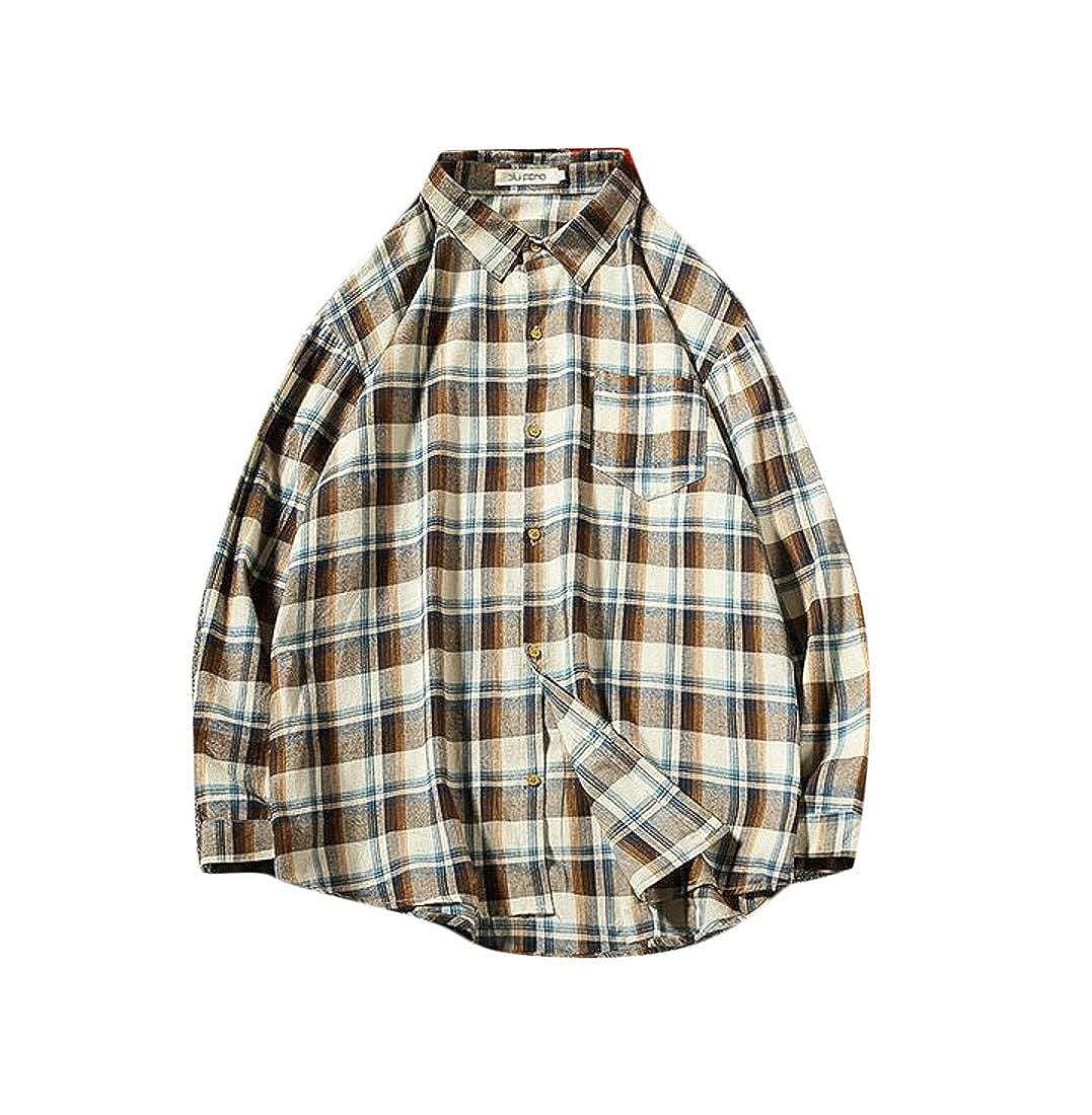Cromoncent Mens Button Down Casual Slim Fit Plaid Cotton Shirt