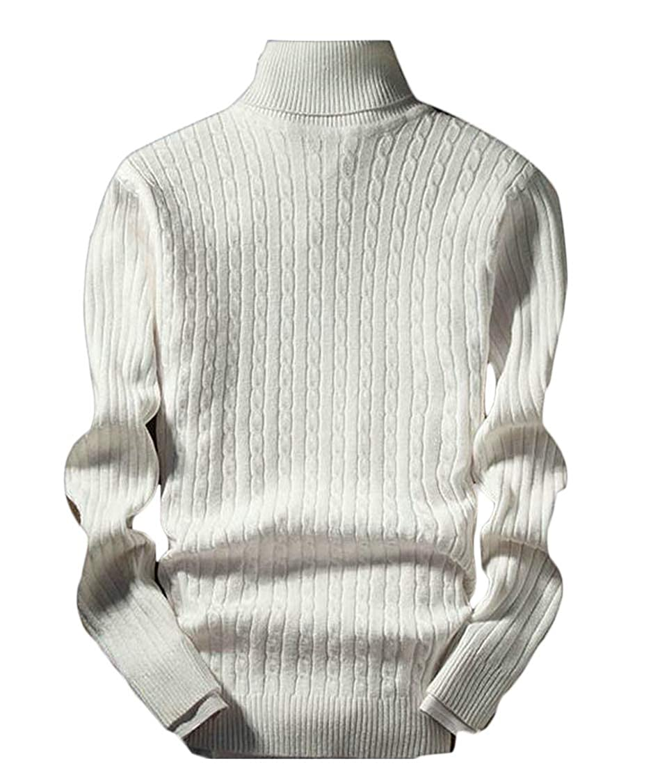 Conffetti Mens Tops Fall Winter Long Sleeve Knit Slim Fit Turtleneck Sweaters