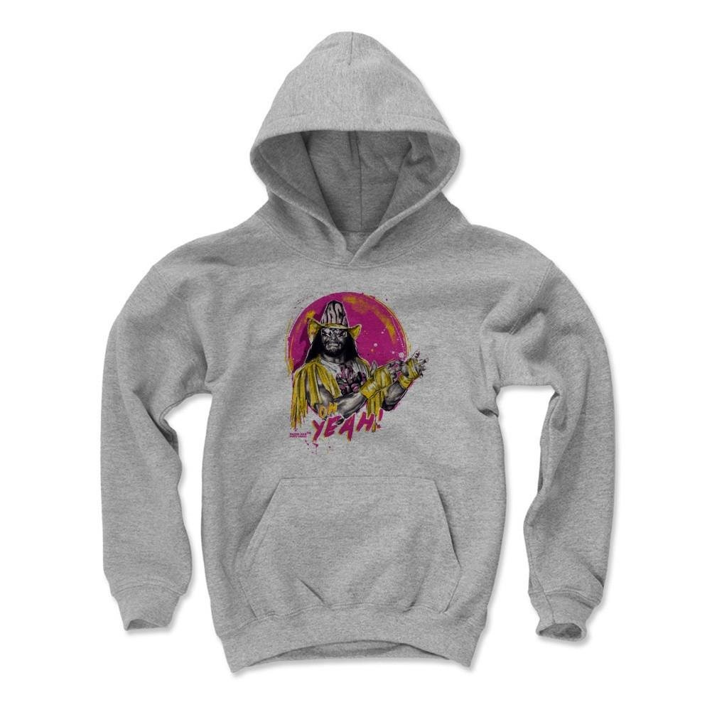 500 Level's Macho Man Randy Savage Kids Youth Hoodie L Gray - Randy Savage Yeah Y - Officially Licensed by Pro Wrestling Tees by 500 Level