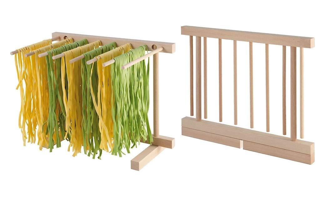 Collapsible Wooden Pasta Drying Stand - Spaghetti Pasta Strips Folded Drying Rack Maker Alon Trade