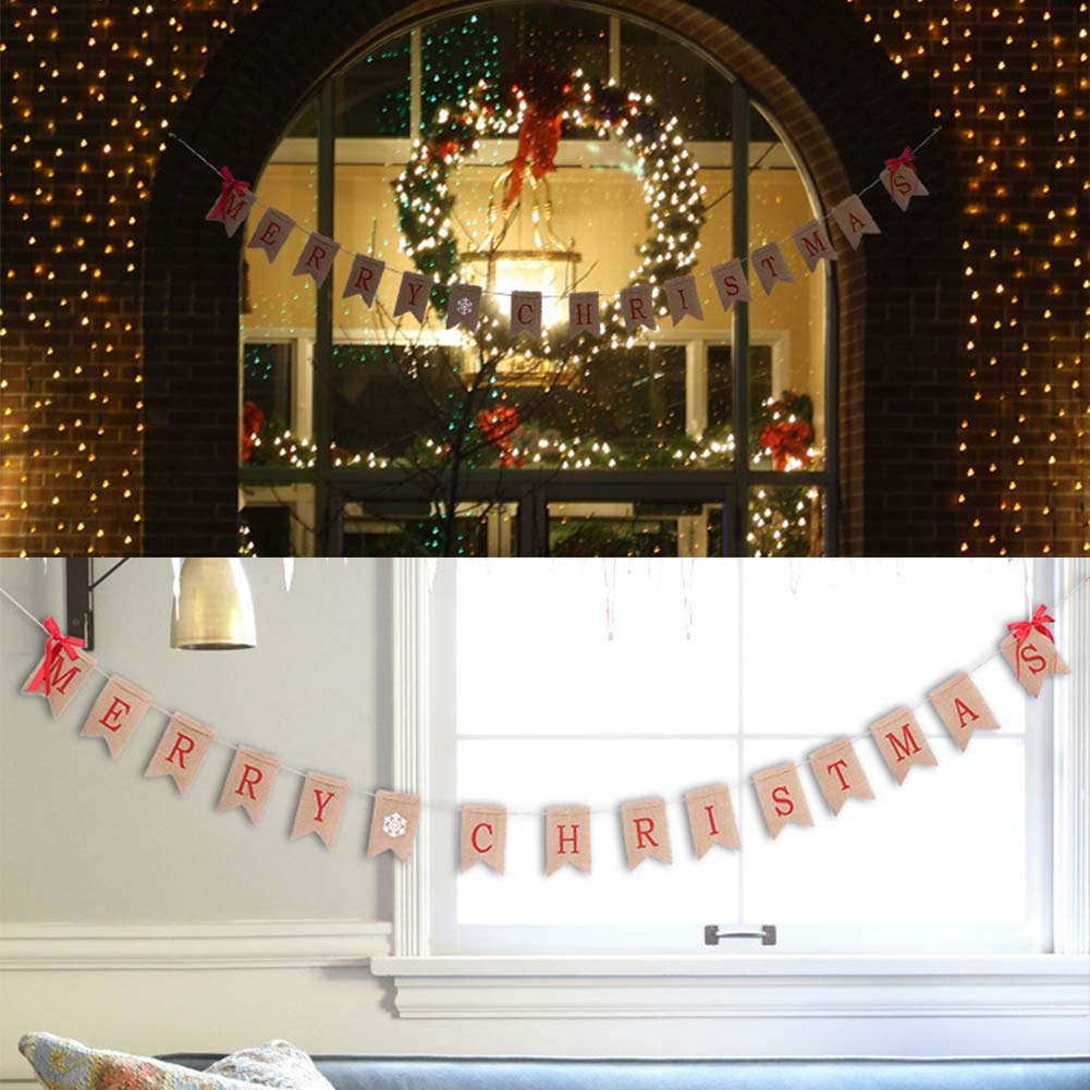 Pveath Merry Christmas Burlap Bunting Banner Garlands with Ribbon Bow Hanging 3m//3.6m Xmas Burlap Banner 2 Styles Banner Choice for Xmas Party Supplies Decorations Photo Props Style-1