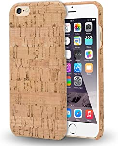 NALIA Cork Case Compatible with iPhone 6 6s, Ultra-Thin Wood Look Phone Cover Slim Back Protector Natural, Slim-Fit Protective Hardcase Skin Shockproof Bumper, Designs:Light Cork