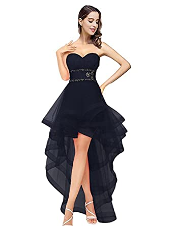 BessWedding Womens High Low Homecoming Dresses 2019 Evening Prom Gowns Size 2 Black