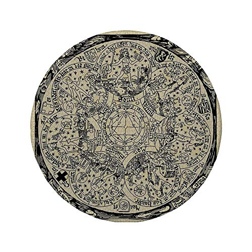 Non-Slip Rubber Round Mouse Pad,Astrology,Series of Ancient Mystic Esoteric Old Map with Man Figures Vintage Symbols Decor,Ecru Black,11.8