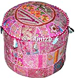 Indian Patchwork Pouf Cover Indian Living Room Pouf, Indian Vintage Patchwork Ottoman Pouf , Indian Living Room Pouf, Foot Stool, Round Ottoman Cover Pouf, Floor Pillow Ottoman Poof