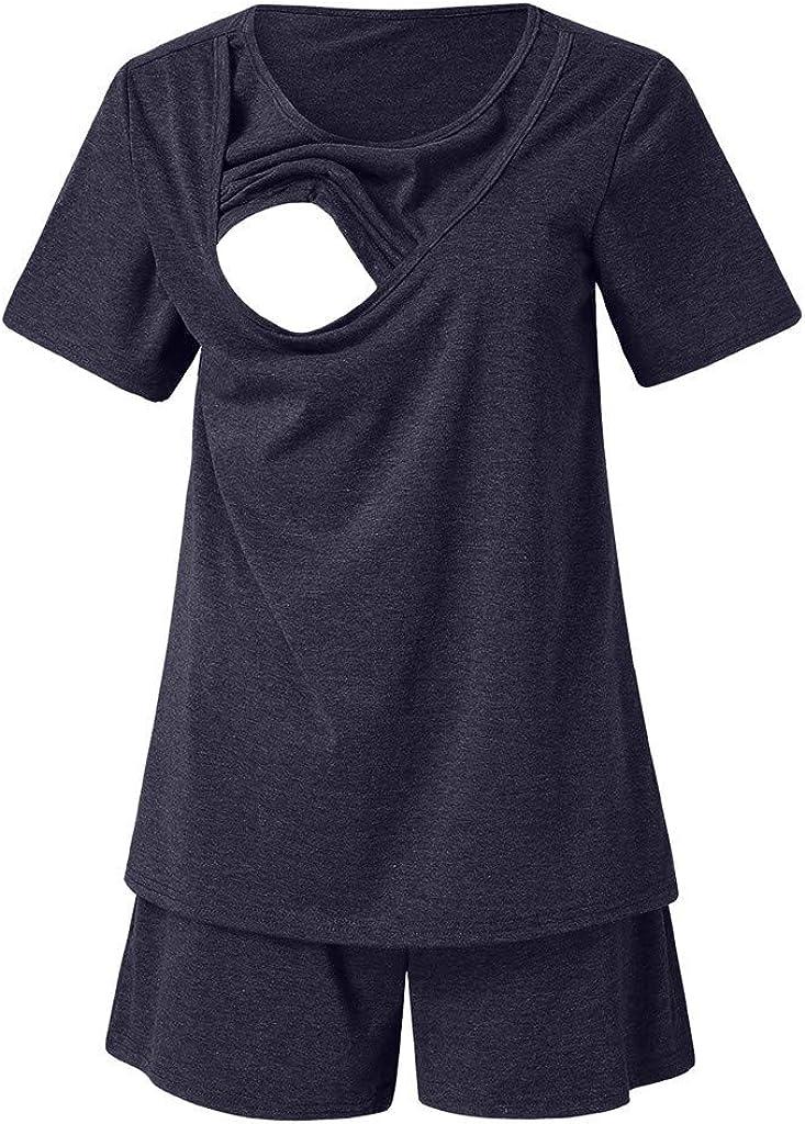 LuckyBB Women Ladies Maternity Pajamas for Hospital Set Short Sleeve Breastfeeding Pregnancy Sleepwear Cotton Nursing Pajamas
