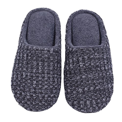 Grey Polar Fleece (Ofoot slippers polar fleece lined cable knit cashmere mens womens slippers indoor shoes memory foam anti-slip TPR outsole (Large / 8.5-9.5 B(M) US, Dark Grey))