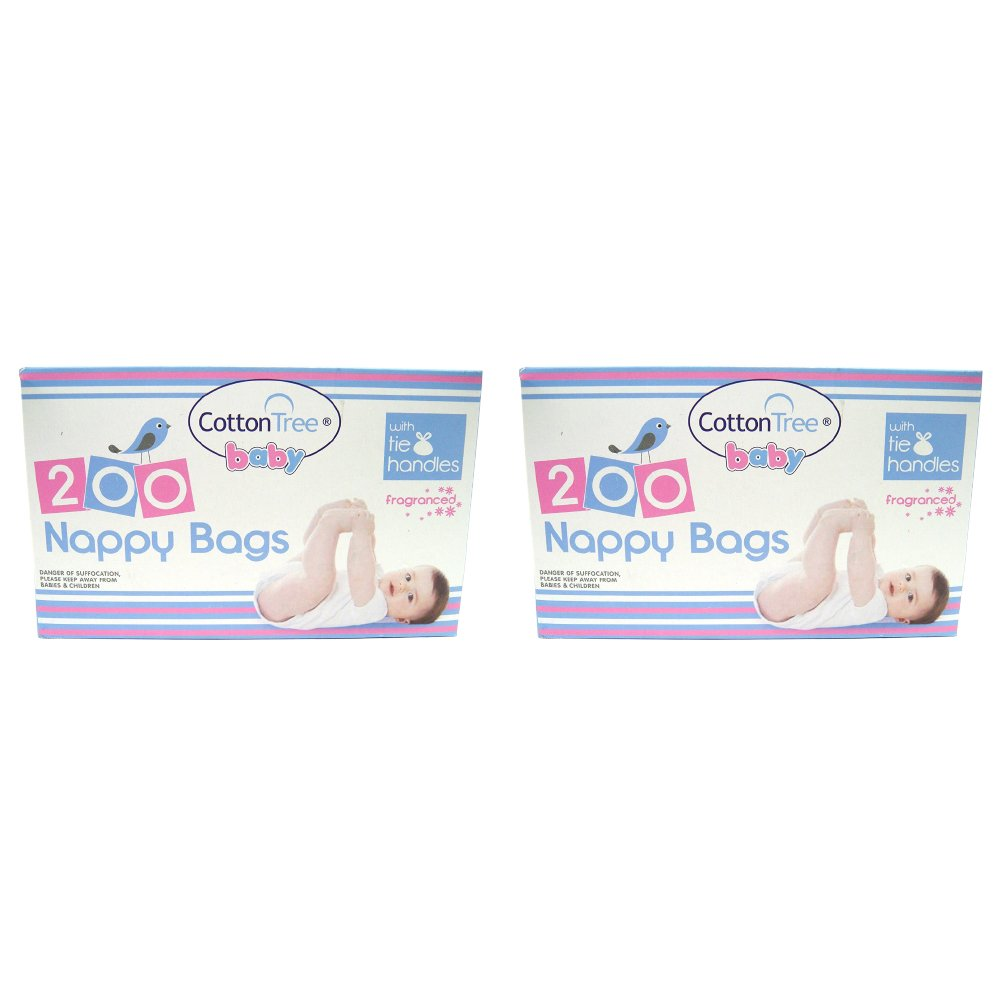 Four Pack 400 Scented Nappy Disposal Bags with Tie Handles Plus 400 Pure Cotton Wool Balls. Ideal for Baby Skin Care & Nappy Changing. Kerhoot