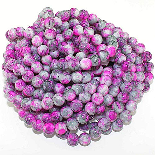 - 20 Pcs Mottled Glass Beads 8mm Tones of Pink Charcoal Pendant Jewelry Making Supplies Craft DIY Kit