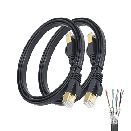 Amazon.com: Cat7 Ethernet Cable 2 PACK 3 FT Flat Networking High ...