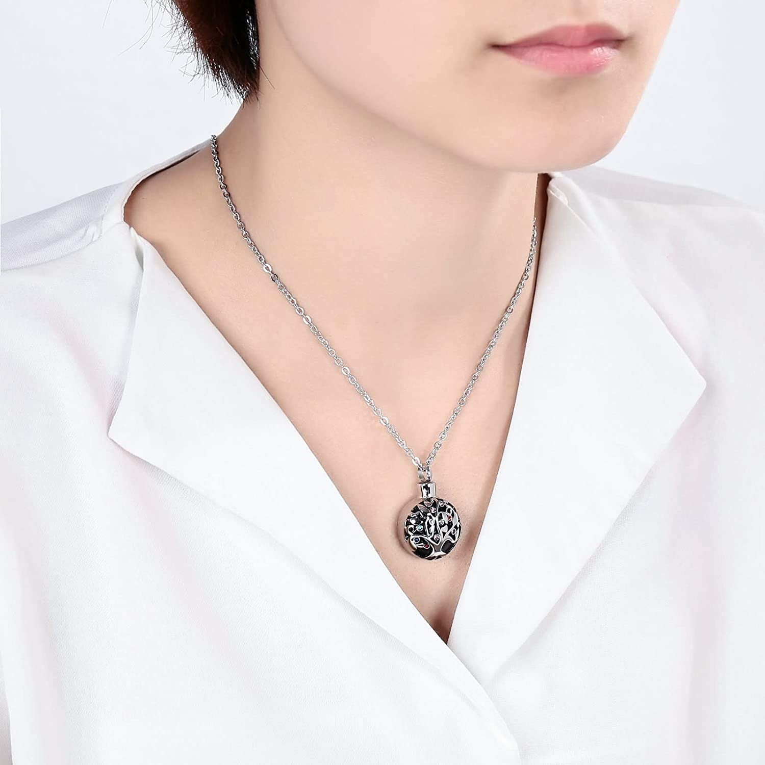 LOPEZ KENT Stainless Steel Cremation Jewelry Always in My Heart Tree of Life Cubic Zirconia Necklace Silver
