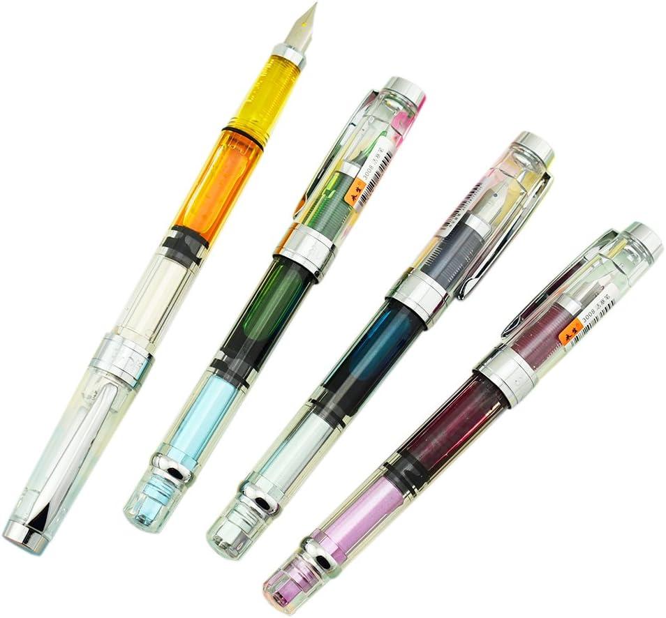 A Piston Transparent Fountain Pen Silver Nib Iridium EF//F 4PCS Wing Sung 3008