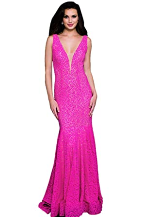 Jovani Prom 2018 Dress Evening Gown Authentic 25100 Long Fuchsia - Purple -