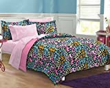 5pc Girls Teen Rainbow Leopard Themed Comforter Twin XL Set, Cheetah Pattern Bedding, Cute Neon Color Animal, Blue Pink Orange Green Yellow Black