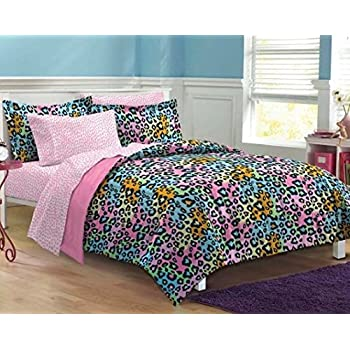 Amazon Com 5 Piece Girls Teen Rainbow Leopard Themed