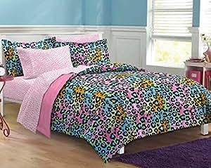 Amazon.com: 5pc Girls Teen Rainbow Leopard Themed