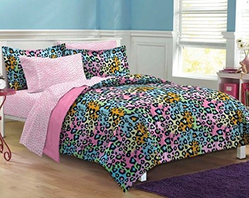 5pc Girls Teen Rainbow Leopard Themed Comforter Twin XL Set, Cheetah Pattern Bedding, Cute Neon Color Animal, Blue Pink Orange Green Yellow Black by D-UNKN