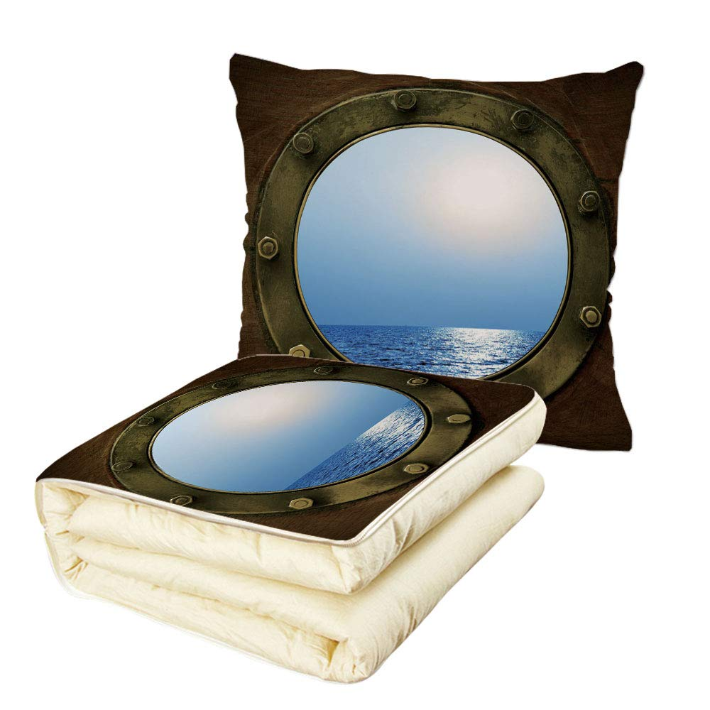 iPrint Quilt Dual-Use Pillow Ocean Peaceful Sea View from Circular Window of Industrial Ship in Clear Sunny Day Multifunctional Air-Conditioning Quilt Brown Pale Blue