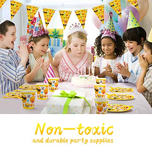 Betheaces Emoji Party Supplies 107 Piece Birthday Decorations Emojis Paper Plates For Kids Boy Girl Disposable