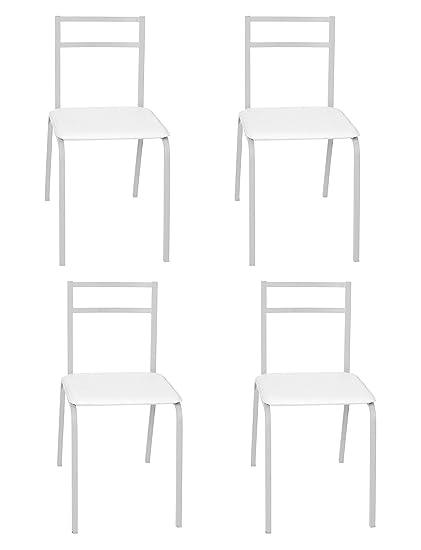 Lote 4 sillas Cocina Blancas Estructura Acero Asiento ...