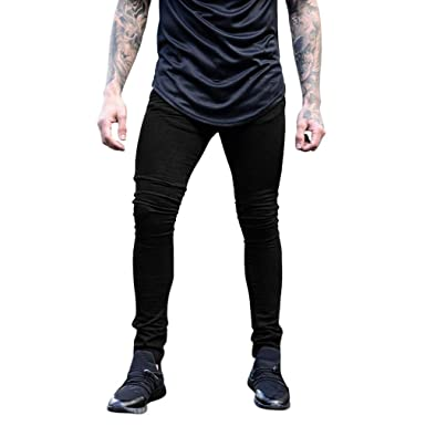 6762e74a0b5b AMSKY❤ Men Trouser, Fashion Slim Fit Biker Hiphop Basic Denim Jeans Skinny  Frayed Stretch Destroyed Ripped Long Pants at Amazon Men's Clothing store: