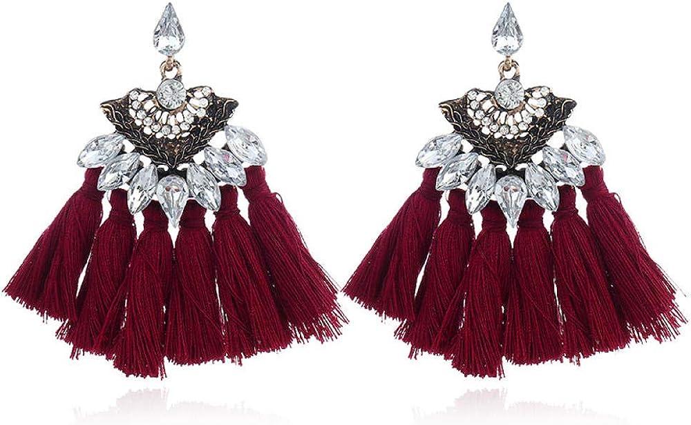 Pendientes retros colgantes, Pendientes de perlas, Regalo para el Día de la madre,Pendientes de borla con piedras preciosas metálicas multicolores