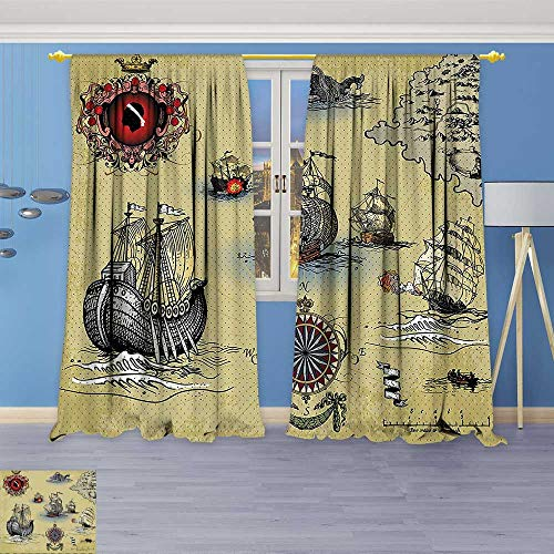 Room Darkening Window Curtain Panel Pair Antique Old Plan Discovery Ship Pirate Wave Compass Navigation Geography Theme Image Beige for Living (G Plan Dining Room Furniture)