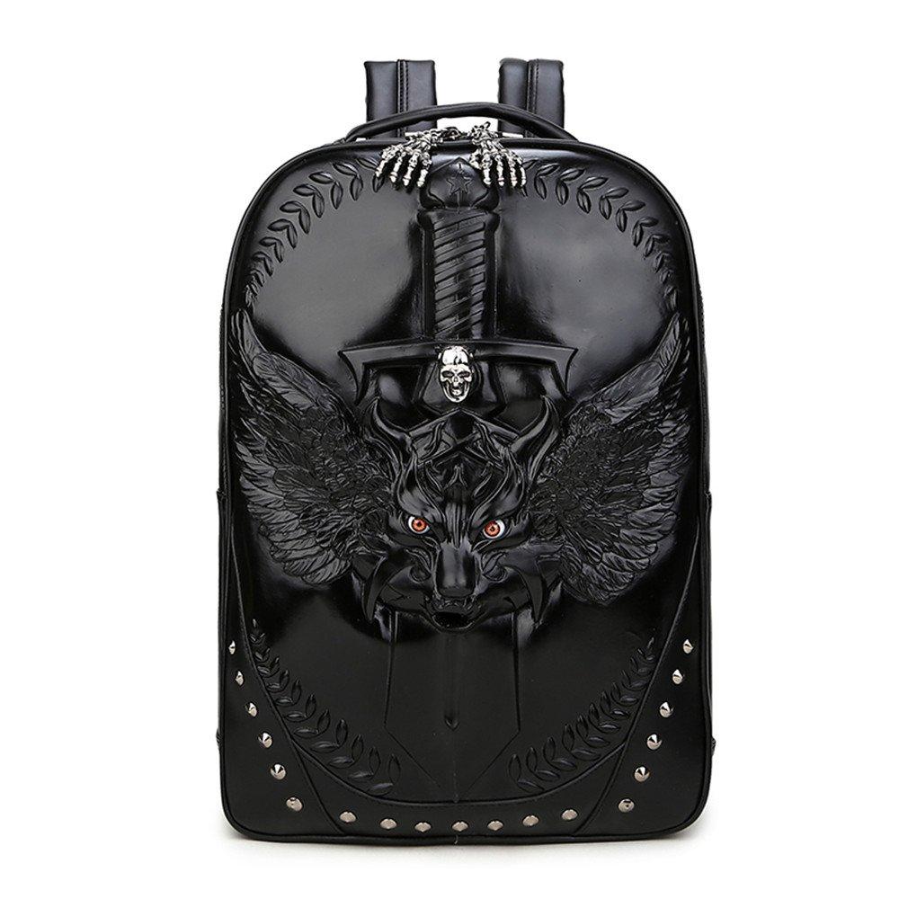 Unisex 3D Personalized PU Eagle Backpack Purse Satchel Daypack Casual Laptop for Women Men (black) by UniquQ