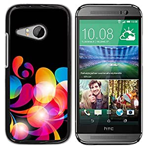 KOKO CASE / HTC ONE MINI 2 / M8 MINI / colores de neón patrón de papel tapiz rojo al azar / Delgado Negro Plástico caso cubierta Shell Armor Funda Case Cover