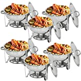 F2C 6 Pack of 5 Quart Full Size Stainless Steel Round Chafing Dish Chafingdish