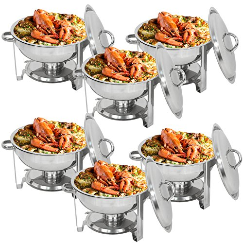 - F2C 6 Pack of 5 Quart Full Size Stainless Steel Round Chafing Dish Chafingdish