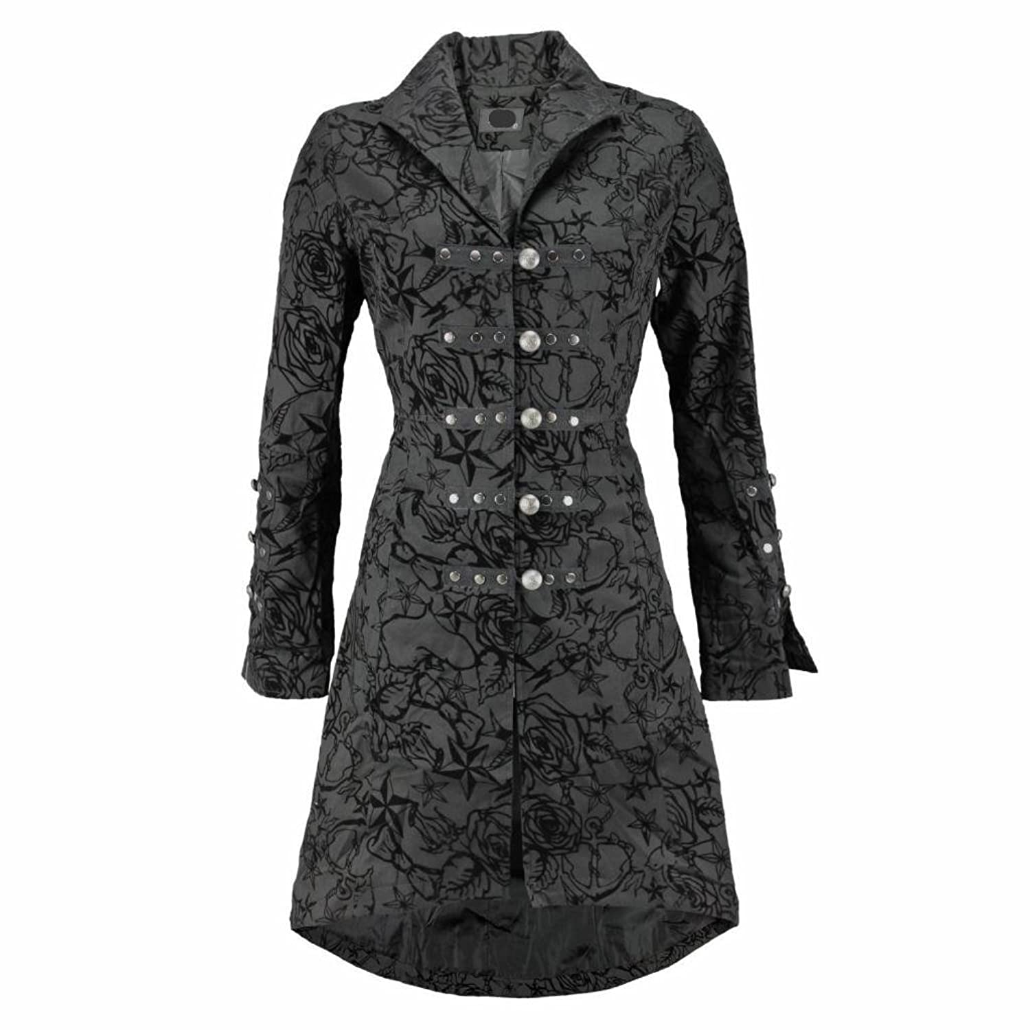 Steampunk Jackets Pretty Kitty Fashion Black Vintage Tattoo Flock Fabric Long Coat - NOW AVAILABLE UP TO SIZE UK 26 £57.99 AT vintagedancer.com
