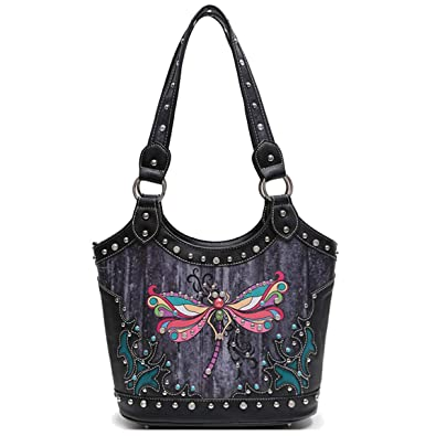 06bb9f07750 Western Style Spring Colorful Butterfly Studded Concealed Carry Purse Women  Country Handbag Shoulder Bag (Black): Handbags: Amazon.com