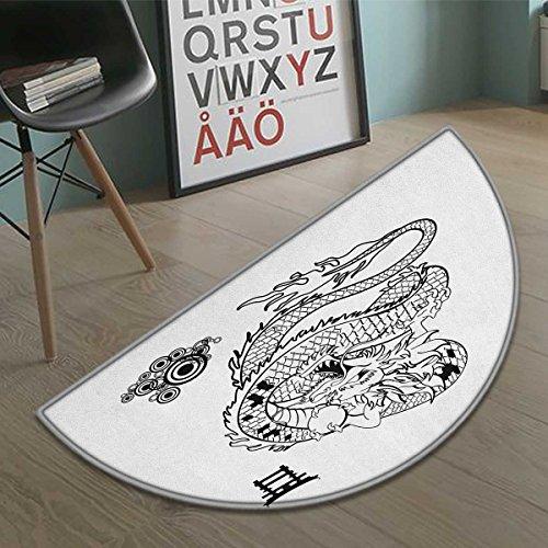 cobeDecor Japanese Dragon Bath Mat for tub Tattoo Art Style Mythological Dragon Figure Monochrome Reptile Design Half Round door mats for inside Bathroom Mat Non Slip Black White size:23.7