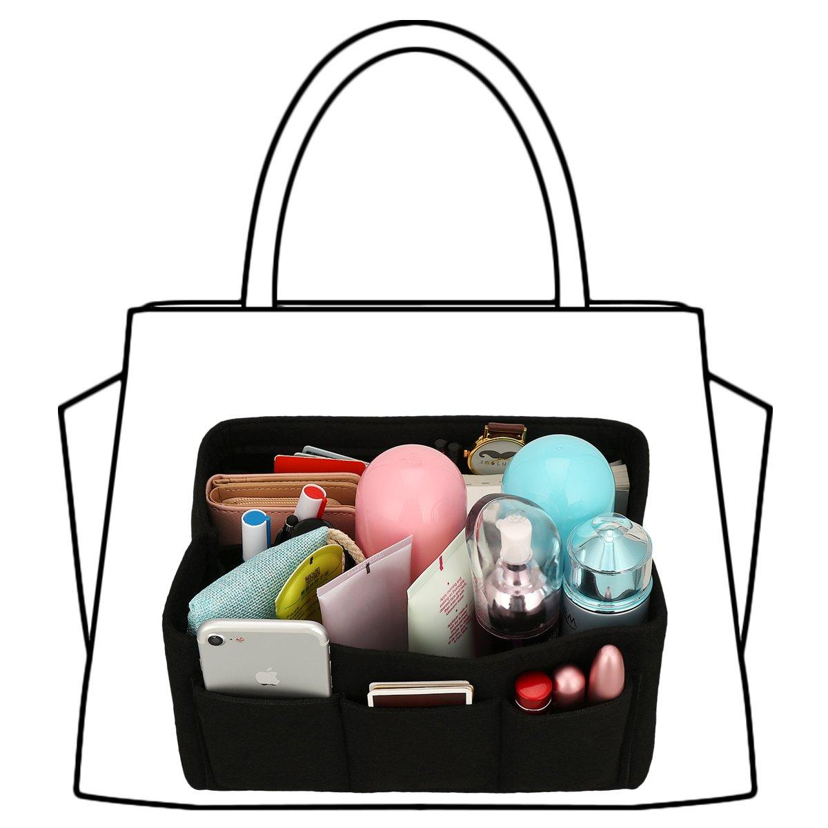 xhorizon SR Felt Insert Fabric Purse Organizer, Handbag Organizer, Multi Pocket Bag in Bag Organizer for Tote & Handbag Shaper, Multipocket Insert Bag