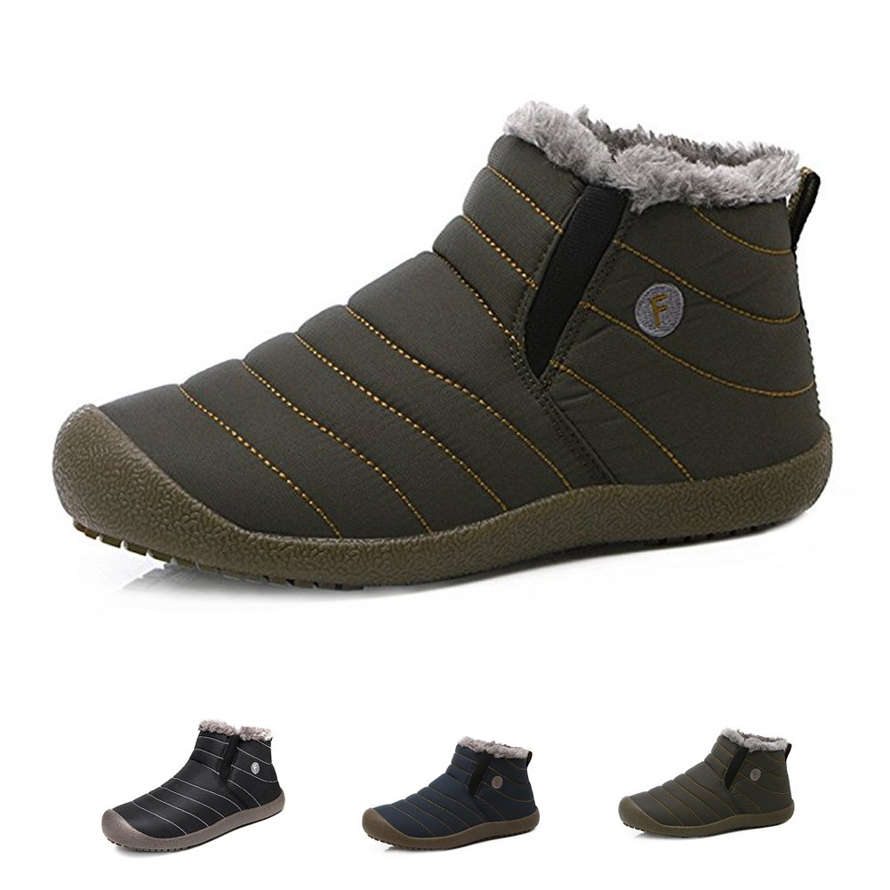 KEALUX Women Men Anti-Slip Waterproof Ankle Snow Boots Fashion Winter Shoes With Fully Fur Lined-42(Grey)