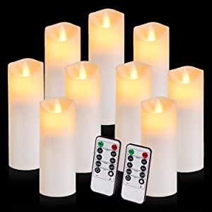 Flickering Flameless Candles Battery Operated Candles Exquisite Frosted Plastic Candles Outdoor Heat Resistant Include Realistic Dancing LED Flames and 10-Key Remote Control with 24-Hour Timer