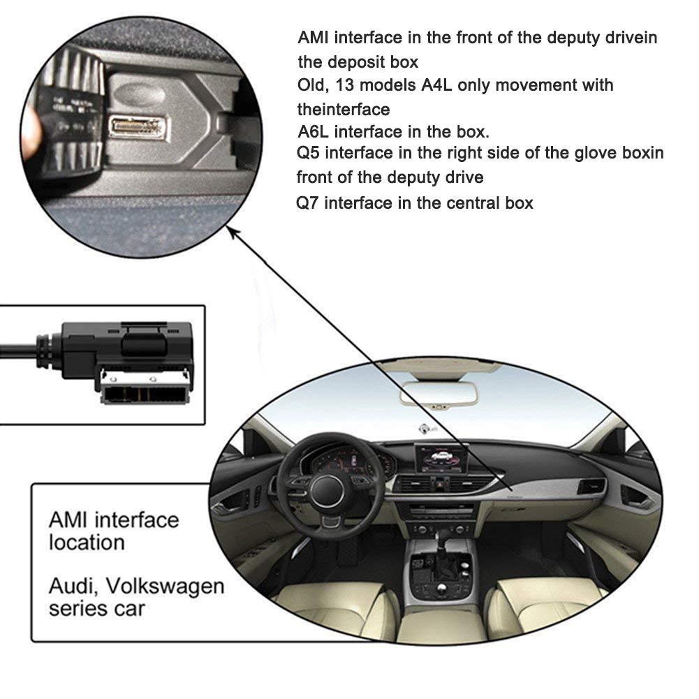M/úsica MDI AMI MMI Interfaz USB para Audi A6L A8L Q7 A3 A4L A5 A1 Qiilu Cargador Cable AUX