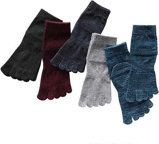 YuanLife Dividir los Deportes Calcetines del Dedo del algodón Gruesa Cinco Dedos Calcetines Sudor Absorbente de la Piel de Usar Paquete de 5 (Color : 5 Pack): Amazon.es: Hogar