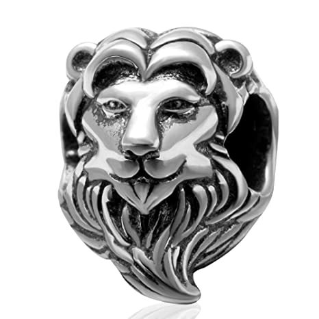 b1acba2dc Image Unavailable. Image not available for. Color: Lion Charm 925 Sterling  Silver ...