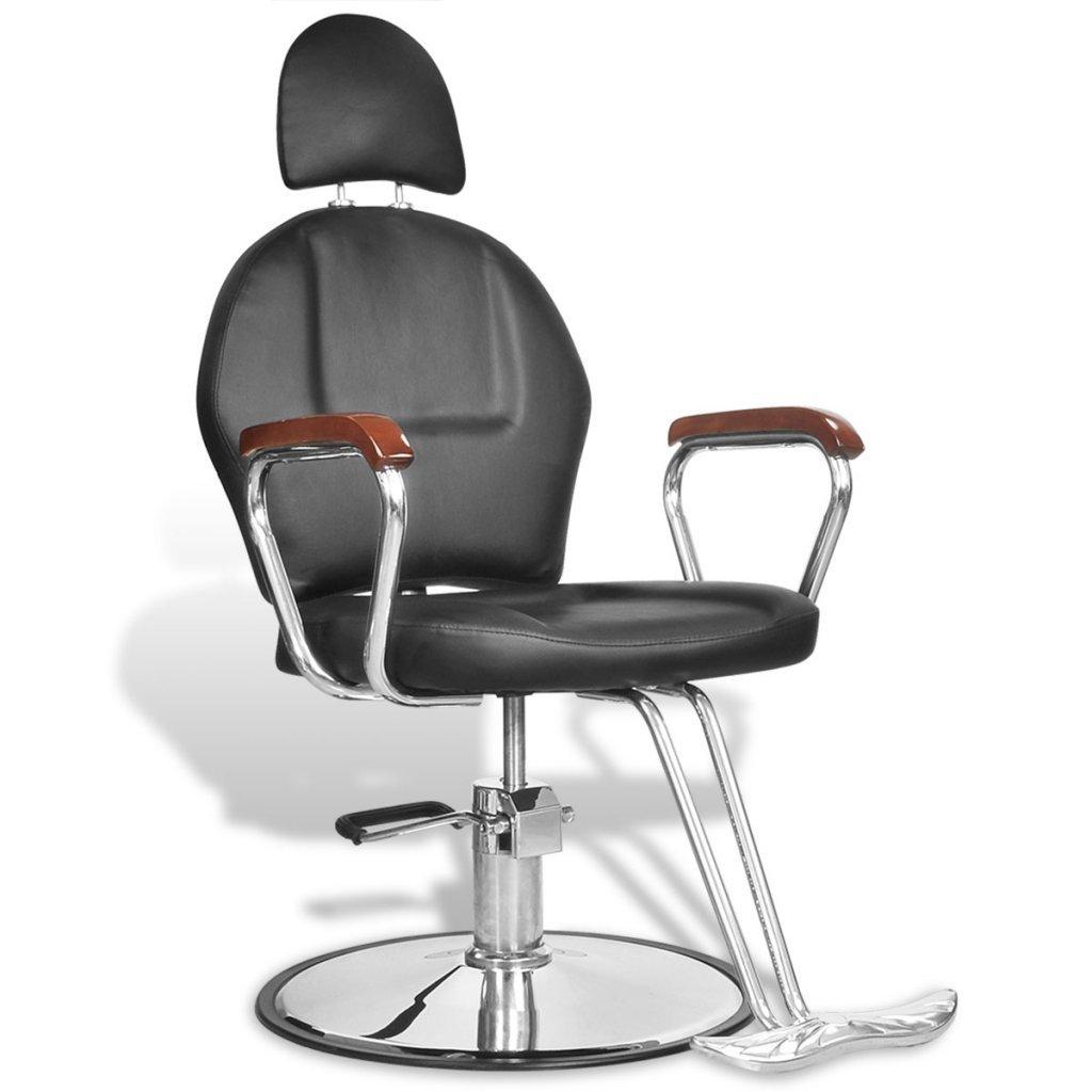 vidaXL Silla profesional de barbero de cuero artificial con reposacabezas negra