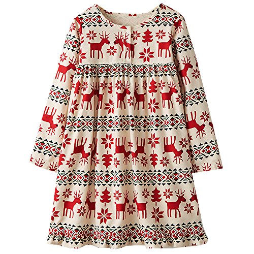VIKITA 2018 Toddler Girls Dresses Christmas Reindeer Long Sleeve Girl Dress for Kids 3-8 Years MS0381, 5T