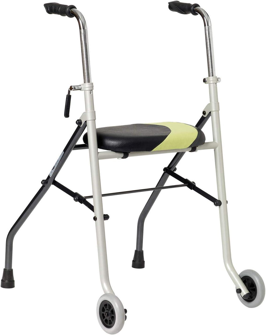 Déambulateur très léger Pieds fixes arrière et roues avant Forme anatomique, réglable en hauteur